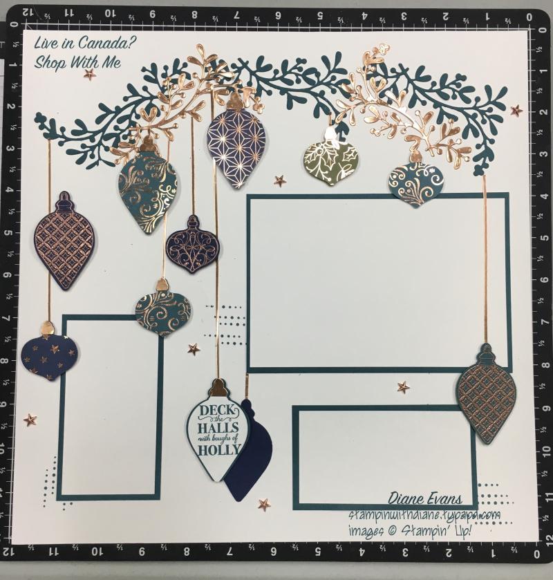 Diane Evans Stampin' Up! Christmas Gleaming Scrapbook page