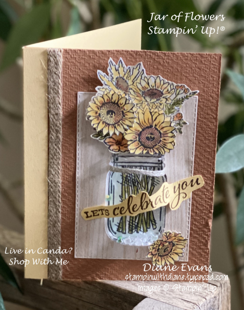 Stampin With Diane jar Of Flowers Shaker Card